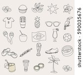 brazil doodle icon set vector. | Shutterstock .eps vector #590035676