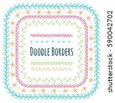 set of doodle decorative borders | Shutterstock . vector #590042702