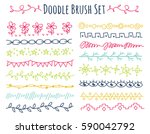 set of doodle brush isolated on ... | Shutterstock . vector #590042792