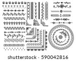 set of floral hand drawn border | Shutterstock . vector #590042816