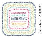 set of doodle decorative borders | Shutterstock . vector #590042852