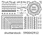 set of floral hand drawn border | Shutterstock . vector #590042912