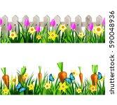 green grass seamless | Shutterstock .eps vector #590048936