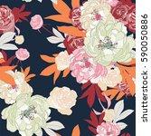 Stock vector botanical flower illustration vector seamless pattern 590050886