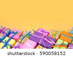 colored gift boxes with... | Shutterstock . vector #590058152