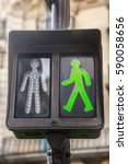 green pedestrian traffic lights | Shutterstock . vector #590058656