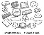 set of biscuit doodle isolated... | Shutterstock . vector #590065406