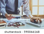 businessman working laptop... | Shutterstock . vector #590066168