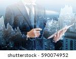 double exposure of professional ... | Shutterstock . vector #590074952