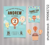 hot air balloon birthday... | Shutterstock .eps vector #590082722