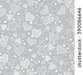 vector silver grey doodle... | Shutterstock .eps vector #590086646