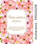 invitation with floral... | Shutterstock .eps vector #590102258