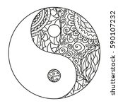 yin and yang. zentangle. hand... | Shutterstock .eps vector #590107232