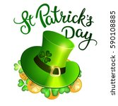 clovers  coins  green hat and... | Shutterstock .eps vector #590108885
