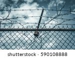 abstract chain link fence with... | Shutterstock . vector #590108888