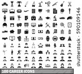100 career icons set in simple... | Shutterstock .eps vector #590109146