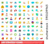 100 strategy icons set in... | Shutterstock . vector #590109965
