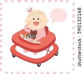 cute baby girl.vector... | Shutterstock .eps vector #590132168