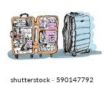 suitcase indoor and outdoor....   Shutterstock . vector #590147792