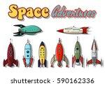 vector vintage rocket ships set ... | Shutterstock .eps vector #590162336