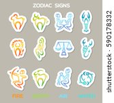 set sticker of zodiac signs for ... | Shutterstock .eps vector #590178332