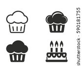 cake vector icons set. black... | Shutterstock .eps vector #590181755