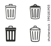 Bin Vector Icons Set. Black...