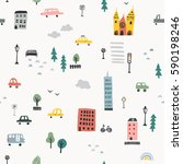 hand drawn city seamless pattern | Shutterstock .eps vector #590198246