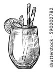 alcoholic cocktail hand drawn... | Shutterstock .eps vector #590202782