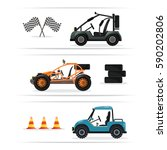 off road buggy car set isolated ... | Shutterstock .eps vector #590202806
