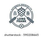 beer badge. isolated outline... | Shutterstock .eps vector #590208665