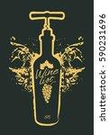 wine bottle on black background.... | Shutterstock .eps vector #590231696