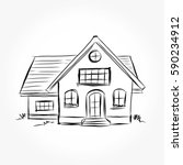 sketch of  house architecture ... | Shutterstock .eps vector #590234912