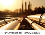 golden sunset in crude oil... | Shutterstock . vector #590235038
