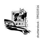 drive thru banking   retro clip ... | Shutterstock .eps vector #59023516