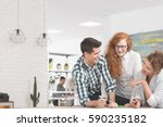 young creative people working... | Shutterstock . vector #590235182