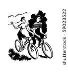 Couple On Bikes   Retro Clip Art