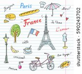 set of paris french symbols... | Shutterstock .eps vector #590243702