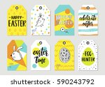 set with happy easter gift tags ... | Shutterstock .eps vector #590243792