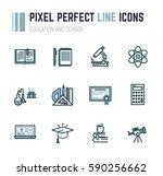 set of line style education... | Shutterstock .eps vector #590256662