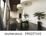 bright villa interior with... | Shutterstock . vector #590257142
