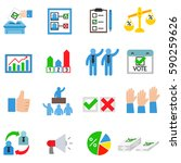vote icons set. candidate... | Shutterstock .eps vector #590259626