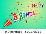happy birthday paper sign over... | Shutterstock .eps vector #590270198