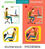 correct and incorrect sitting... | Shutterstock .eps vector #590280806