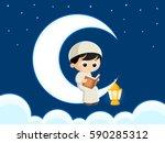 a muslim boy reading quran ... | Shutterstock .eps vector #590285312