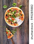 delicious italian pizza with... | Shutterstock . vector #590285882