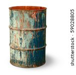 Old Rusty Metal Barrel Covered...