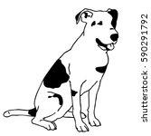 vector black and white sitting... | Shutterstock .eps vector #590291792