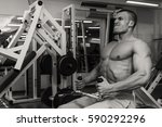 muscular torso of sexy young... | Shutterstock . vector #590292296