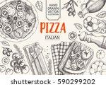 italian cuisine top view frame. ... | Shutterstock .eps vector #590299202